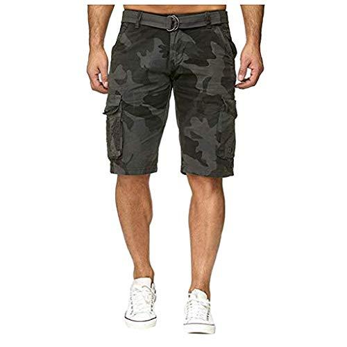 Amoyl Camouflage Multi Pocket Workwear Shorts für Herren, Herren Button Camouflage Baumwolle Mehrfach Overalls Shorts Fashion Pant -
