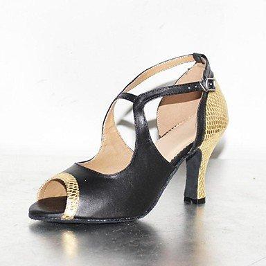 XIAMUO Anpassbare Damen Tanzschuhe Latein/Dance Sneakers Wildleder/Kunstleder Stiletto Heel Rot/Gold Rot