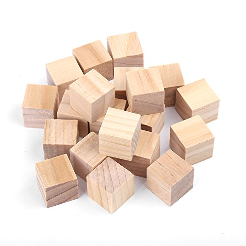 Akozon Wooden Blocks Craft Natural Square Wooden Blocks Wood Cubes for DIY Crafts Handmade Woodcrafts Kids Toy Home Decor(20mm/20Pcs)