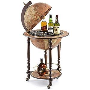 Zoffoli Globus Bar Da Vinci Rust 40 cm Weltkugel Hausbar mit Lenkrollen – Barschrank Getränkefach aus Nussbaumholz für…