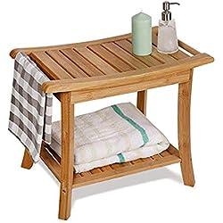 Taburetes de baño Baño Bambú Grueso Baño De Madera Maciza Impermeable Antideslizante Ducha Baño Esencial para Personas Mayores Muebles de baño