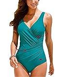 Yonglan Donne Costume Intero Plus Size Backless V-Collo Bikini Costumi da Bagno Spinge Verso l'Alto Imbottito Beachwear dello Swimwear Verde XL
