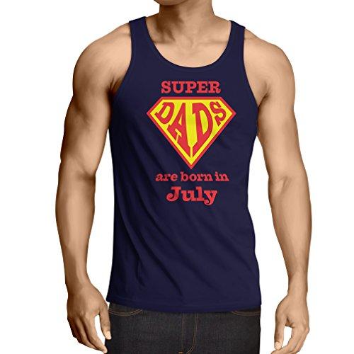Weste Super-Väter sind im Monat Juli geboren Geburtstags-T-Shirts Geschenke (Medium Blau Mehrfarben)