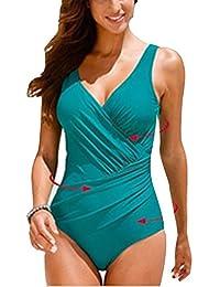 Mujer Bañador Tallas Grandes Traje de Baño de Una Pieza Cuello V Sin Respaldo Ropa de Baño Push-up One Piece Vestido Traje Baño Verde M