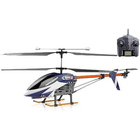 NincoAir - Helicóptero 535 Alumax 2.4 Ghz, color negro, azul y blanco (NH90066)
