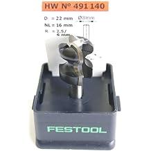 Festool 491140 - Fresa para cavidad de agarre HW, vástago 8 mm HW S8 D22/16/R2,5+6