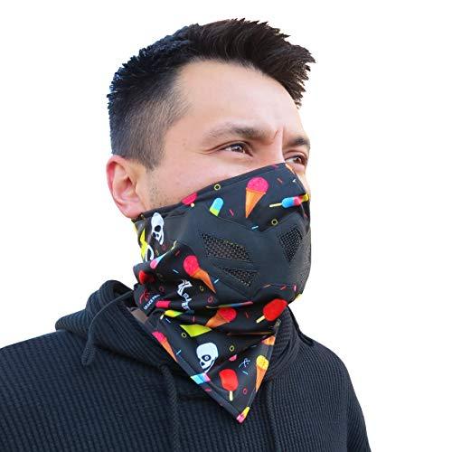Grace Folly Half Face Gesichtsmaske für kaltes Winterwetter. Diese Halbmaske ist für Snowboard, Ski, Motorrad geeignet. (in vielen Farben lieferbar) (Electric- Black)