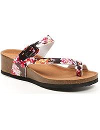 Ideal Shoes - Nu-pieds style orthopédique imprimé Fanelia