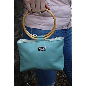 jadefarbene Handtasche Lederhandtasche Crossover mit Bambusgriffen