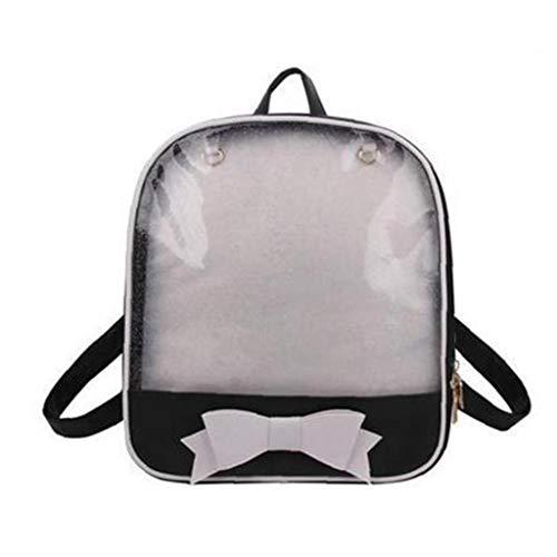 Transparent Frauen Rucksack Niedlich Schleife Ita Taschen für Schule Mini Schulranzen Für Teenager Mode Bookbag (Schwarzweiß)