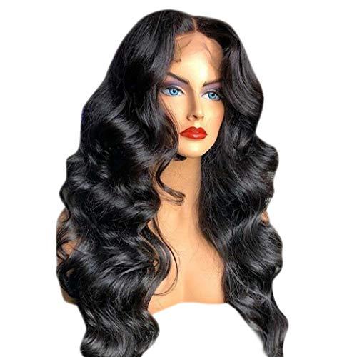 Schöne Synthetische Spitze (Kunsthaar Perücken Damen Gewellte Perücke WQIANGHZI Haarperücken für Frauen Haarteil Schwarz Spitze Lockenperücke Resistent Synthetische Schön)