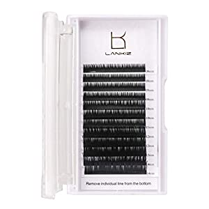 Eyelash Extensions D Curl 0.20mm Individual Eyelashes Silk Faux Mink Lashes Cluster 8-14mm Mixed Tray Black Volume Individual Eyelash Extensions for Salon Perfect Use by LK LANKIZ