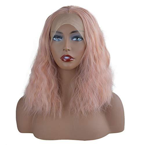 LianMengMVP Damen Perücken Kurze rosa gerade Perücke Mode Natürliche Partei lockige Lace Front synthetische Perücke Frauen rosa Kurze Welle gewellte Perücken ()