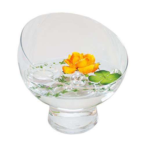 Runde Glas-Schale Nantes Höhe 19cm ø 19cm. Abgeschrägte Dekoschale mit Dekorations Set Rose gelb-orange Dekoglas Glasgefäß ausgefallene Deko für Ihre Deko Ideen. Glasdeko von Glaskönig