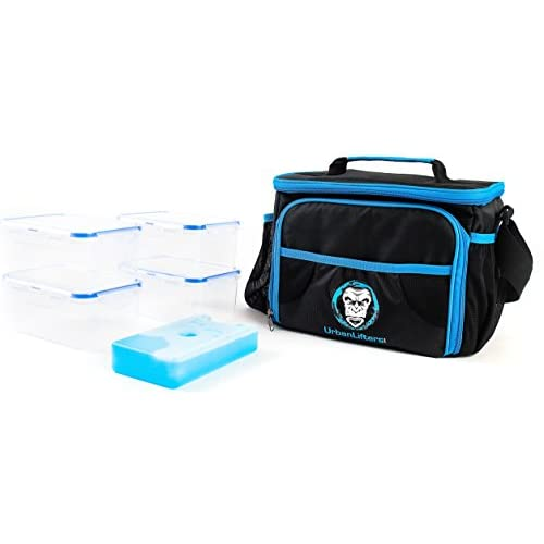 41cU1Hpg0qL. SS500  - Urban Lifters Meal Prep Bag. Lightweight Bag complete with 4 containers + ice pack. Ideal for Meal Management. Insulated food storage, ergonomic shoulder strap. For Athletes on the go.