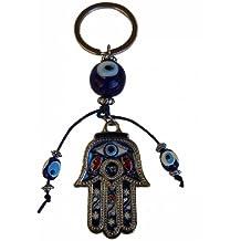 Con diseño de la mano de Fátima azul mal ojos protección llavero