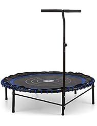 Klarfit Jumpadalic Indoor-Trampolin 122 cm Fitness-Trampolin mit Halte-Griff (Federung aus Gummiseilen, ohne Nebengeräusche, Griffstange dreistufig höhenverstellbare) rot schwarz oder blau
