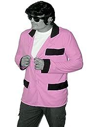 The Dragons Den Pastel Pink Teddy Boy Jacket RockerBilly Drapes Black Trim