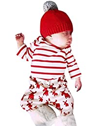 Festliche Babykleidung Babymode Baby Klamotten Longra Neugeborene Babyanzug Jungen Mädchen Hirsche Druck Streifen Langarm Tops und Baby Hosen Weihnachten neugeborene kleidung