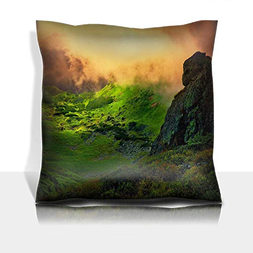 MSGDF Throw Pillowcase Cotton Satin Comfortable Decorative Soft Pillow Covers Protector Sofa 18x18 1 Pack Abstract Stone Giant and orange Fog Over The Green ()