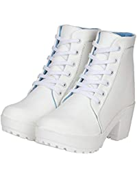 AlexaStar Women's Canvas High Heel Ankle Length Boots Shoes