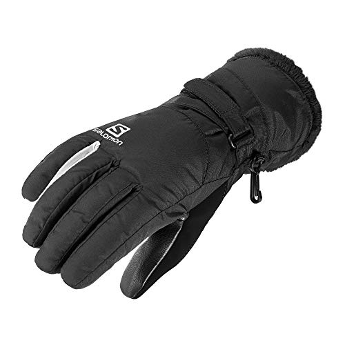 Salomon Guantes de running ligeros, force dry, transpirables, negro y blanco, mujer, talla: M