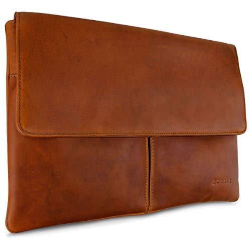 ROYALZ Leder Tasche für Apple MacBook 12 Zoll Lederhülle (ab 2015) mit Retina Display Notebook Schutztasche Sleeve Retro Vintage Look, Farbe:Cognac Braun