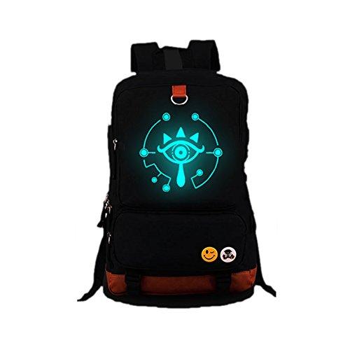 Dailygocn Zelda Backpack Sheikah Eye Luminous Schulranzen Grosse Kapazität Reisetasche Cosplay Schultertasche für Fancy Dress