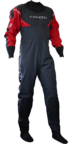 Typhoon Hypercurve 3 B/Z Drysuit with Socks Black/Red 100143 Inc Fleece Sizes - XLarge