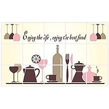 decalmile Autoadhesivo Prueba De Aceite Azulejo De Cocina Pegatinas De Pared Copas De Vino Vajilla Desmontable