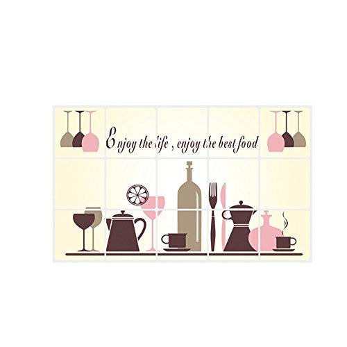 decalmile Autoadhesivo Prueba De Aceite Azulejo De Cocina Pegatinas De Pared Copas De Vino Vajilla Desmontable Adhesivos Pared Decorativos para Cocina Comedor