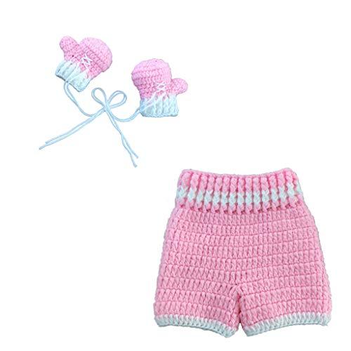 Yudanny Neugeborenes Baby Fotografie Foto Requisiten Outfits häkeln gestrickte Hosen + Boxhandschuhe Outfit Baby-Dusche-Geschenk (pink)