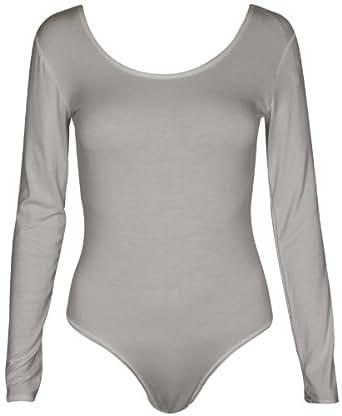 Damen Schlicht Langärmelig Damen Stretch Rund U-ausschnitt Druckknopf Druckknopfverschluss Body T-Shirt Body Top - Creme, 36-38