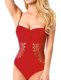 Zarupeng Womens Sexy Ruffles Solid Vendaje Tankini Set Bikini Sets (L, Gris)