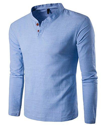Dalisay Herren Hemden Stehkragen Langarm Leinen Retro Schlank Social Business Bluse Mode Freizeithemden Tops S-5XL (Himmelblau, L)