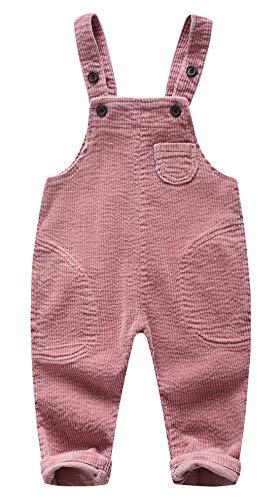 HAPPY CHERRY Baby Latzhose aus Kord Unisex Kinder Hose mit Verstellbar Träger Jungen Mädchen Babyhose mit Hosenträger Kleinkinder Overall Kord Hose mit vordertaschen in Rosa Größe L 90CM