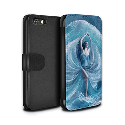 Officiel Elena Dudina Coque/Etui/Housse Cuir PU Case/Cover pour Apple iPhone 5/5S / Tombé Design / Fantaisie Ange Collection Robe Mer