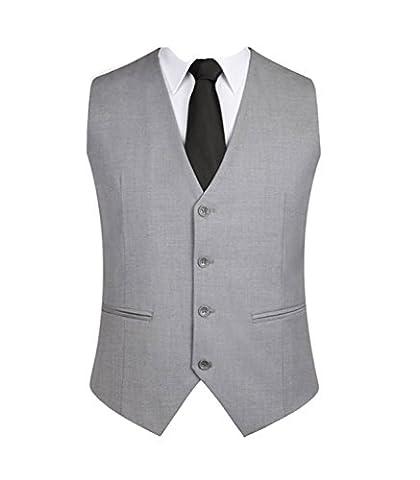 OMSMY Herren Weste Anzugweste Anzug-Weste Casual Business stilvoll feierlich Eng Geschnittenes Vest Einreiher Weste Schwarz Plus Size (3XL, grau)
