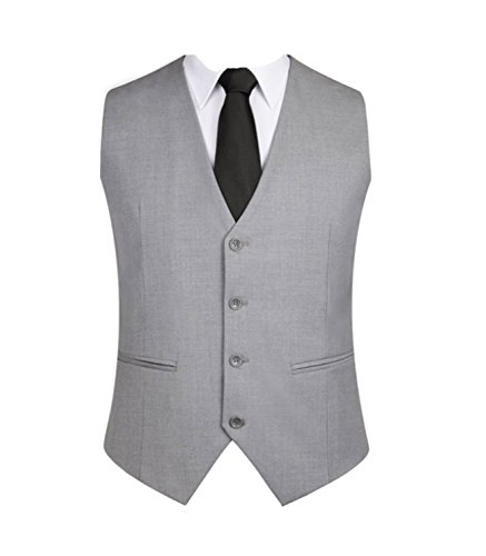 OMSMY Herren Weste Anzugweste Anzug-Weste Casual Business stilvoll feierlich Eng Geschnittenes Vest Einreiher Weste Schwarz Plus Size (L, grau)