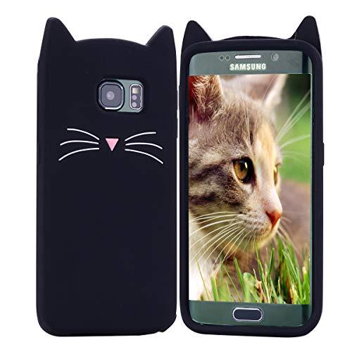 HopMore Gato Funda para Samsung Galaxy S6 Edge Silicona Motivo 3D Divertidas One Piece Kawaii Carcasa Samsung S6 Edge Ultrafina Slim Case Antigolpes Caso Protección Cover Design Gracioso - Negro
