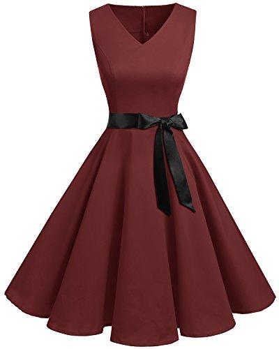 bridesmay 1950er V-Ausschnitt Kleid Vintage Cocktailkleid Rockabilly Retro Schwingen Kleid Faltenrock Burgundy S 50er Jahre Stil Kleid