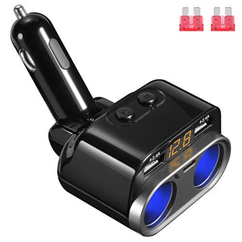 Caricabatteria per Auto USB Doppio, 12/24V 80W Adattatore per Caricabatteria da Auto con 2 Splitter per Accendisigari, 2 Porte di Ricarica USB 2.4A, Type-C Porta per Tutti i Telefoni iPad GPS Dash Cam