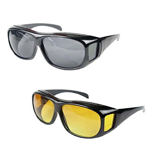 Krevia Wrap Around Unisex Sunglasses (Hd-Goggles_22|Grey And Yellow)