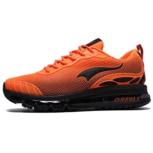 Onemix Uomini Air Cushion Scarpe Running Uomo Maglia Ginnastica Sportive Outdoor Sneakers Palestra Tennis Scarpe da Corsa arancione 41 EU