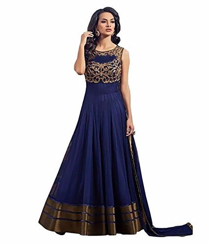 Sweetlook Women\'s Blue Net Anarkali Unstitched Free Size XXL Salwar Suits Sets Dress Material (Indain Clothing New Dresses)
