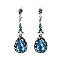 MSYOU Earring Elegant Vintage Blue Zircon Pendant Earrings Ladies Women Girl Jewelry Gift for Christmas Birthday Party Prom