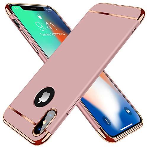 TORRAS Ultra Dünn Kompatibel mit iPhone XS Hülle/iPhone X Hülle 3 in 1 Design Kratzfest Matt Schutzhülle Hart Plastik Hybrid Case Slim Premium Hardcase Rückseite HandyHülle Cover - Rose Gold