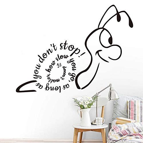 Lumache Design Inspirational Quote Fintanto che non si ferma Wall Sticker per la decorazione della camera dei bambini Divertente Stickers murali Home Decor Verde chiaro 58 * 43 cm