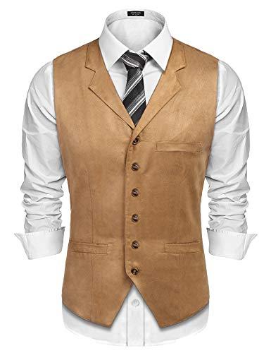 Burlady Herren Western Weste Herren Anzug Weste V-Ausschnitt Ärmellose Westen Slim Fit Anzug Business Hochzeit (XXL, G2-Khaki)