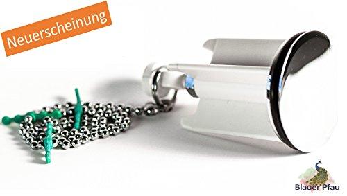 BlauerPfau   Waschbeckenstöpsel mit Haarfangkette   Exenterstopfen   Abflusseinsatz   Robuster Abflussstopfen für einen sauberen und haarfreien Abfluss im Badezimmer   Weiß Ø 40 mm